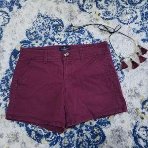American Eagle Burgandy Chino Midi Stretch Shorts